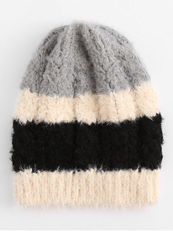 buy Color Block Knitted Winter Beanie - BLACK