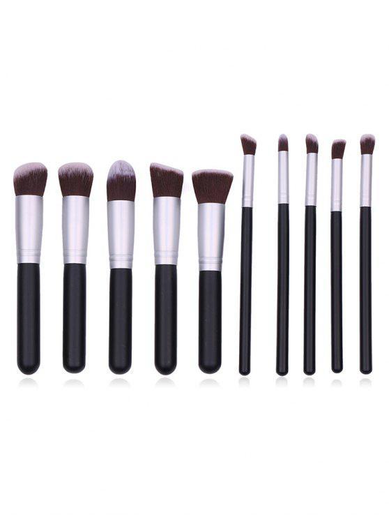 womens Cosmetic 10Pcs Fiber Hair Makeup Brush Collections - BLACK REGULAR