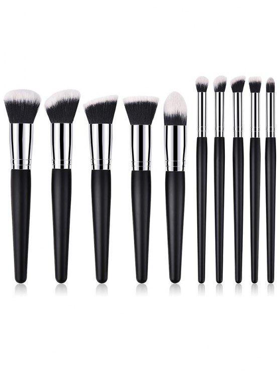 ladies Professional 10Pcs Wooden Handles Travel Cosmetic Brush Suit - BLACK REGULAR