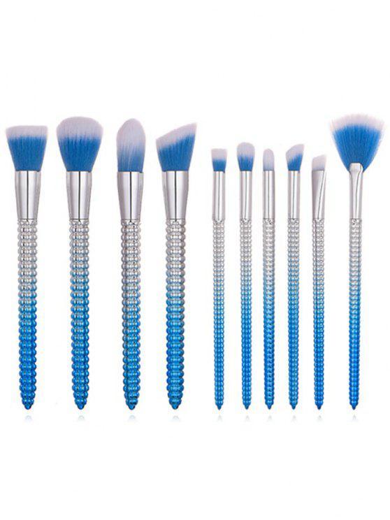 Ensemble de Brosse Cosmétique de Maquillage Ultra-Douce avec Manche en Forme de Cône 10 Pièces - Bleu Océan Ordinaire