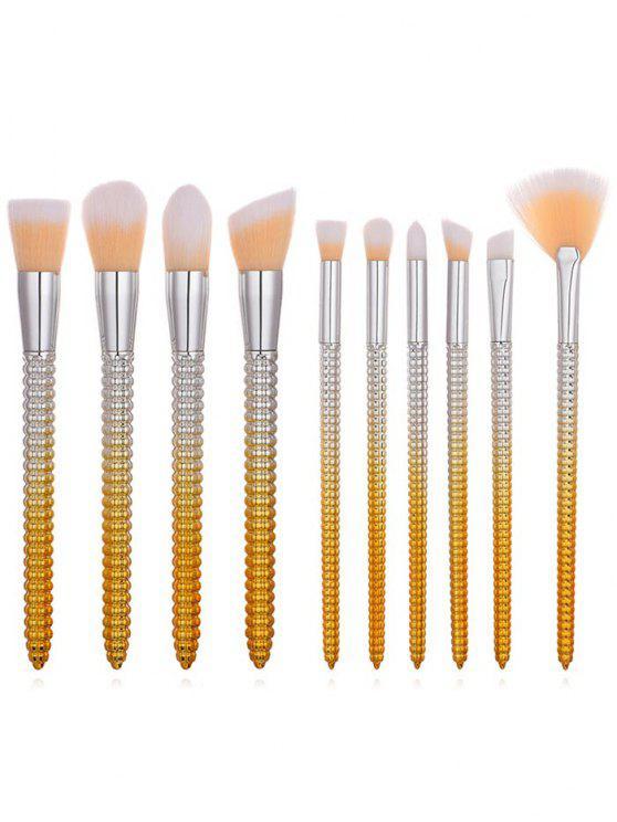 trendy Cosmetic 10Pcs Corn Shape Handles Ultra Soft Makeup Brush Set - SAFFRON REGULAR