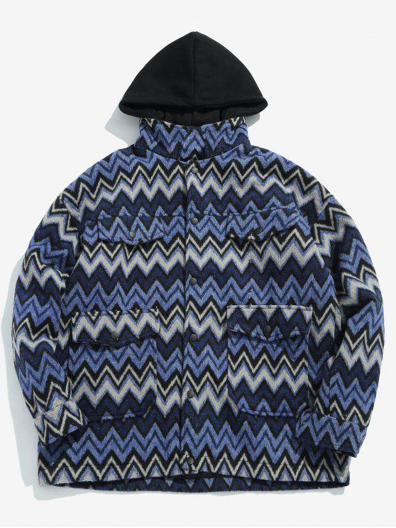 chic Wave Pattern Pocket Jacket - BLUE 2XL