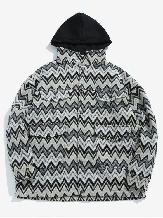 best Wave Pattern Pocket Jacket - BLACK 3XL
