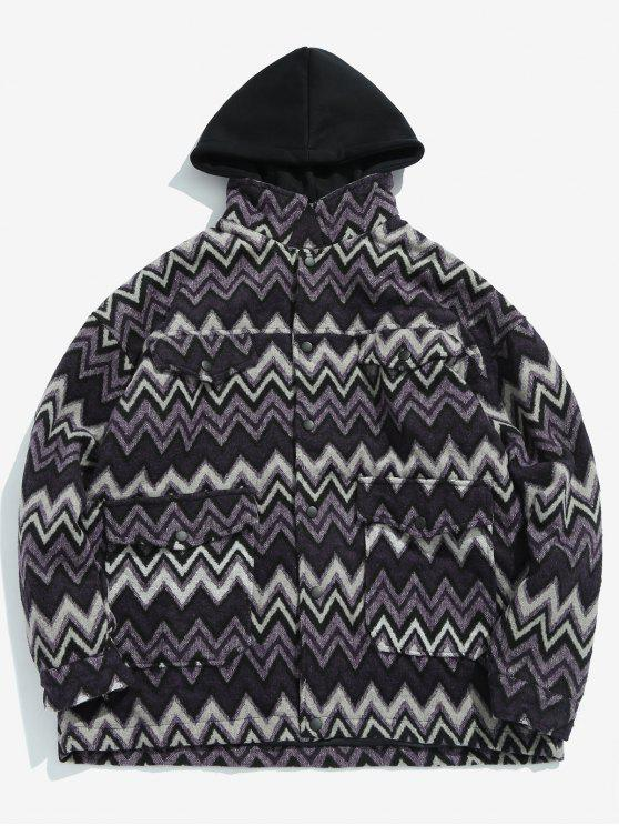 fashion Wave Pattern Pocket Jacket - PURPLE XL