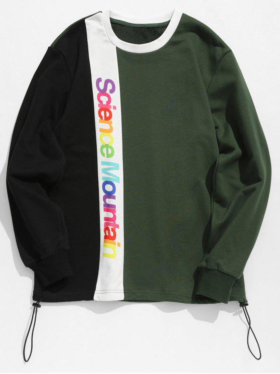 women's Contract Color Colorful Letters Printed Sweatshirt - DARK GREEN XL