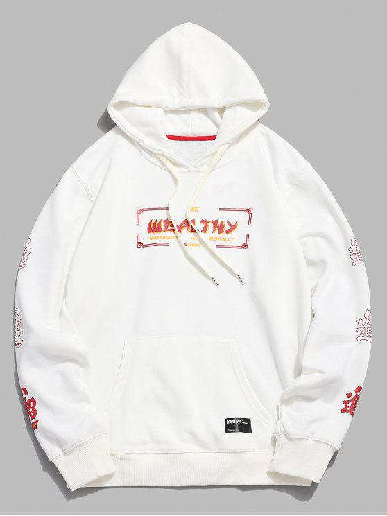hot Casual Kangaroo Pocket Graphic Hoodie - WHITE XL