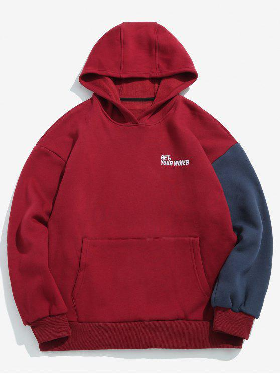 womens Color Block Letter Embroidery Fleece Hoodie - RED WINE L