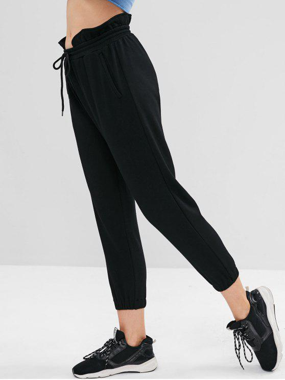 shops ZAFUL Ruffle High Waisted Jogger Pants - BLACK S