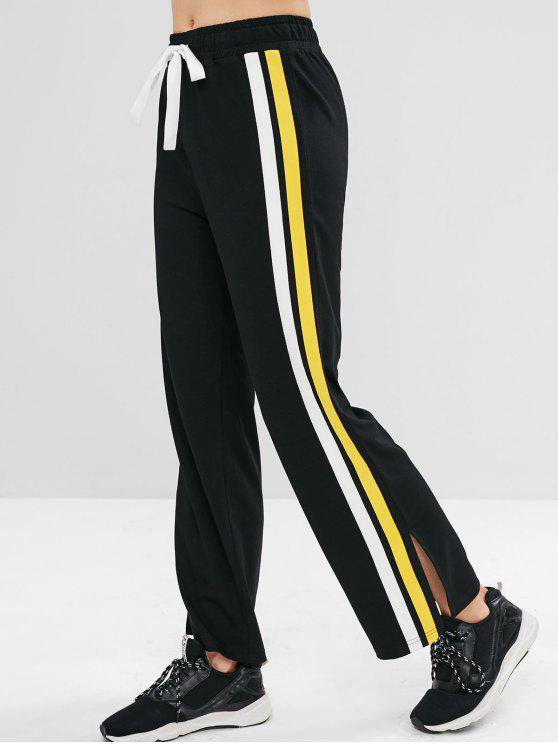 ZAFUL Pantalon de Survêtement de Sport à Rebord Contrasté - Noir L