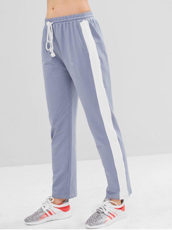 buy ZAFUL Color Block Drawstring Pants - BLUE GRAY L