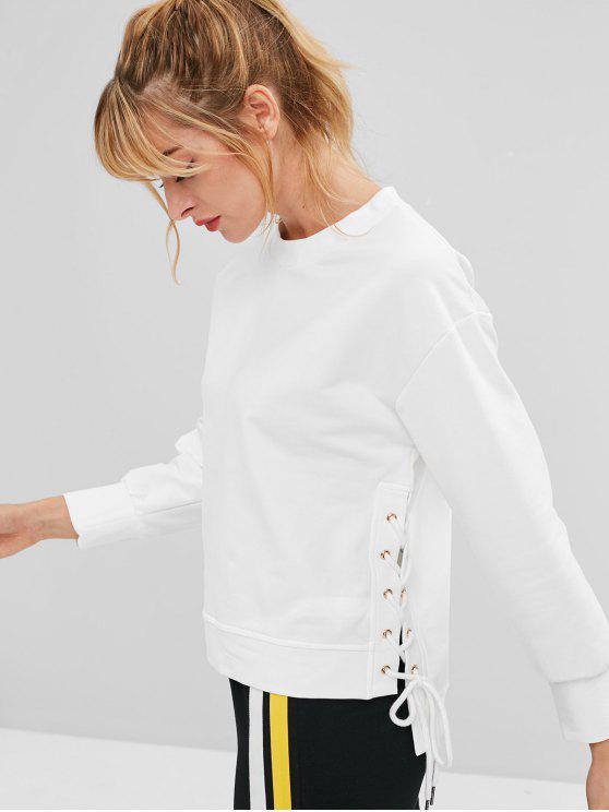 buy ZAFUL Lace Up High Low Sweatshirt - WHITE S