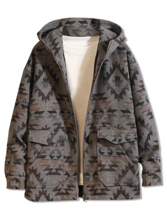 womens Geometrical Pattern Zip Up Hooded Jacket - DARK GRAY 2XL