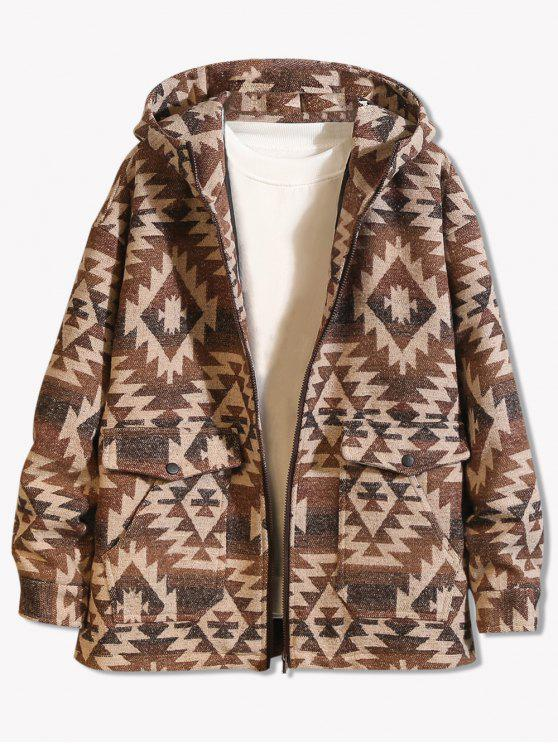 buy Geometrical Pattern Zip Up Hooded Jacket - LIGHT KHAKI 2XL