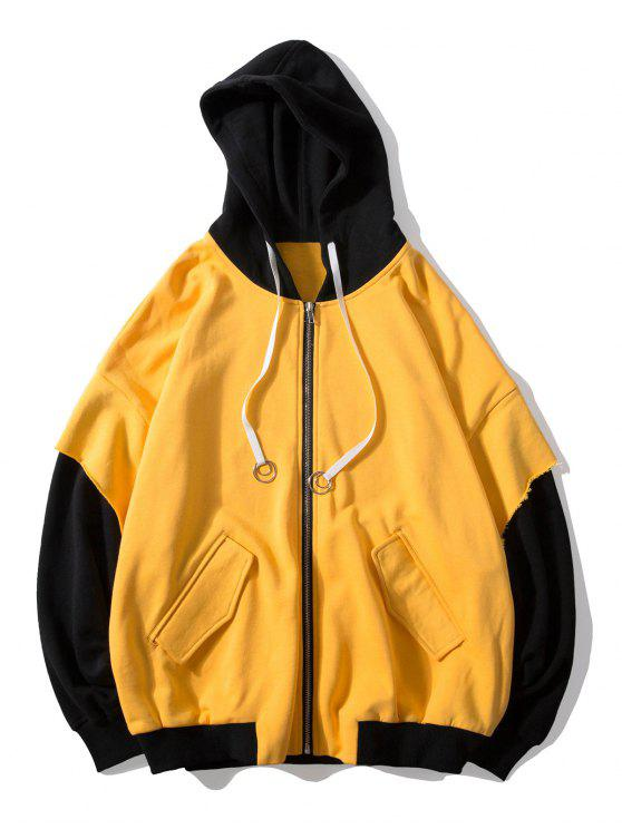 shop False Two Pieces Zipper Drawstring Letter Hoodie - BRIGHT YELLOW M