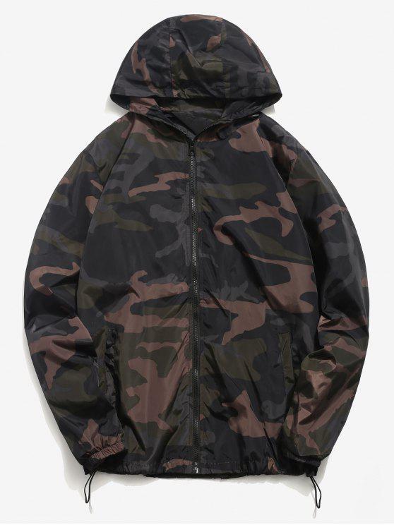 trendy Camo Quick Dry Lightweight Jacket - HAZEL GREEN XS