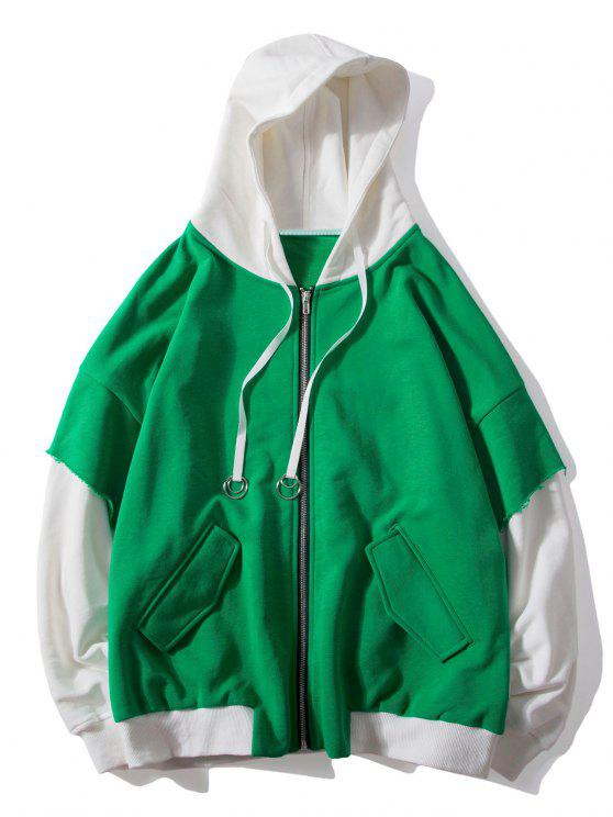 hot False Two Pieces Zipper Drawstring Letter Hoodie - CLOVER GREEN 2XL