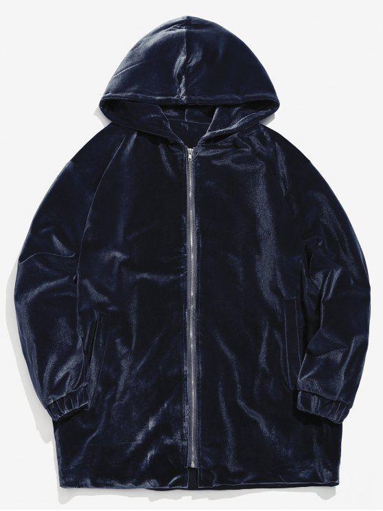 new Solid Pleuche Zip Loose Jacket - CADETBLUE 2XL