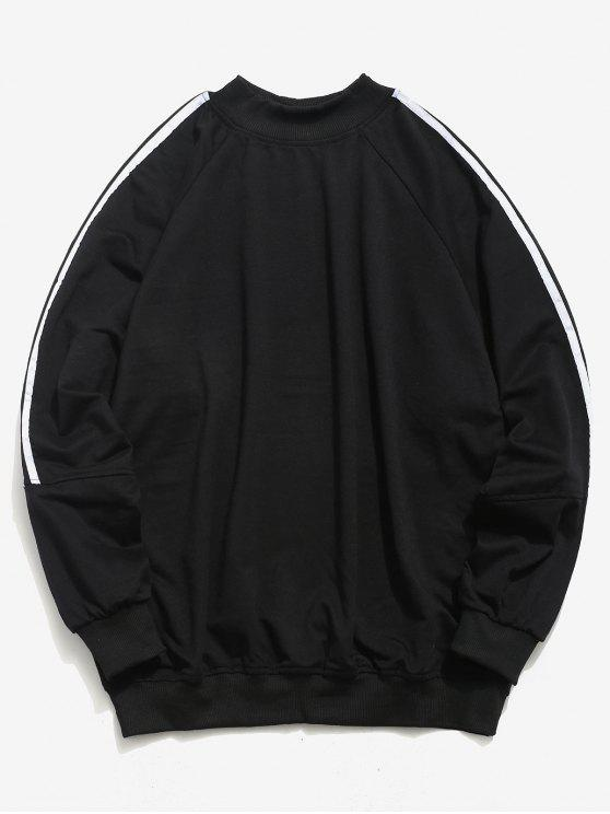 women Raglan Sleeve Stripe Sweatshirt - BLACK XL