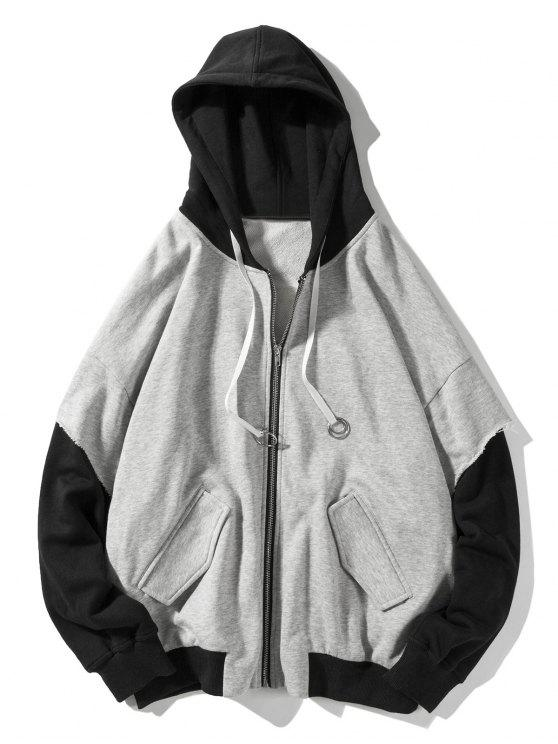 women's False Two Pieces Zipper Drawstring Letter Hoodie - LIGHT GRAY XL