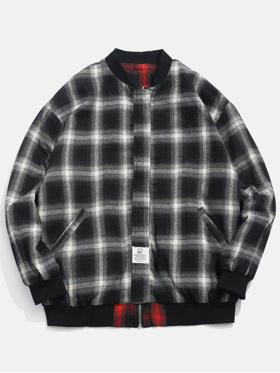 online Checked Pattern Reversible Jacket - BLACK 3XL