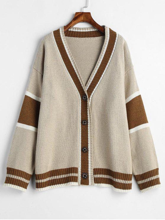 a2b86ee70e 35% OFF  2019 Striped Preppy Oversized Cardigan In CAMEL BROWN ONE ...