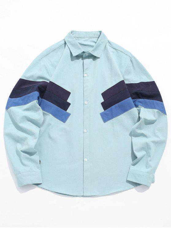 Camicia A Blocchi Di Colore - Blu Leggero 4XL