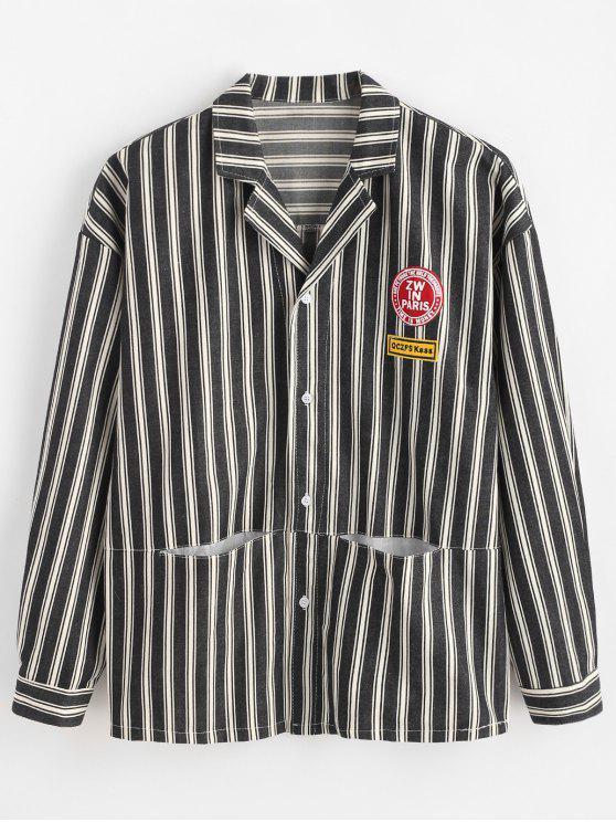 shops Letter Embroidery Striped Hidden Pocket Jacket - BLACK 2XL
