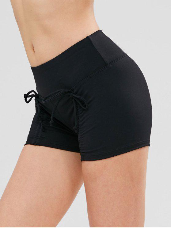 hot ZAFUL Skinny Ruched Sports Bike Shorts - BLACK L