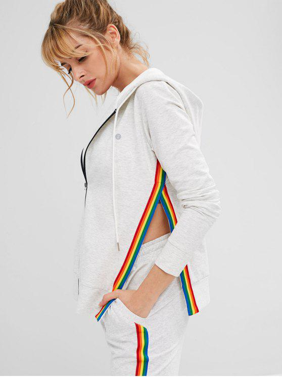 unique ZAFUL Striped Slit Hooded Jacket - LIGHT GRAY S