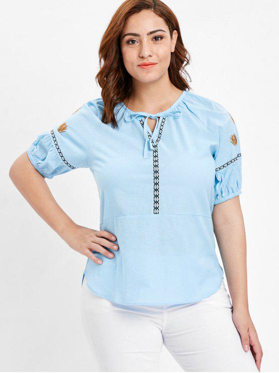 hot Embroidered Plus Size Woven Top - DEEP SKY BLUE 2X