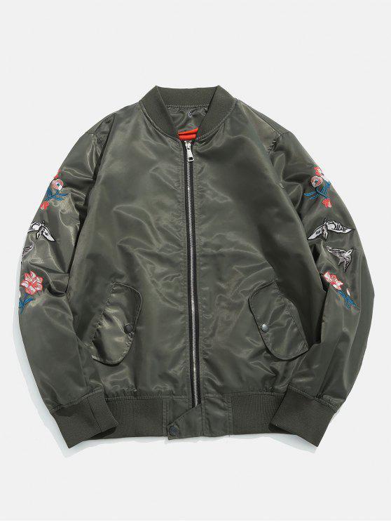 Stehkragen Zip Up Souvenir Jacke - Armeegrün S
