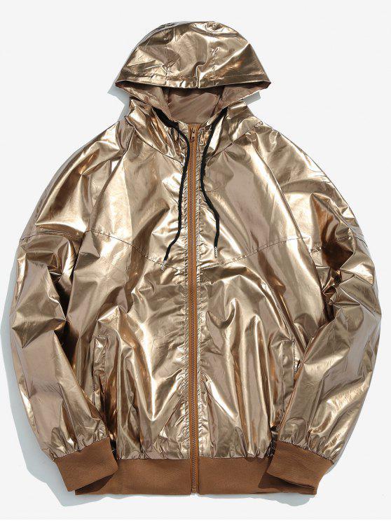 Metallic-Kapuzenjacke mit Reißverschluss vorne - Gold M