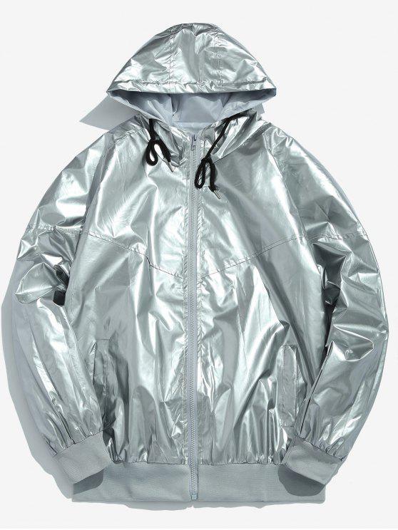 Chaqueta con capucha y cremallera en color metalizado - Plata L