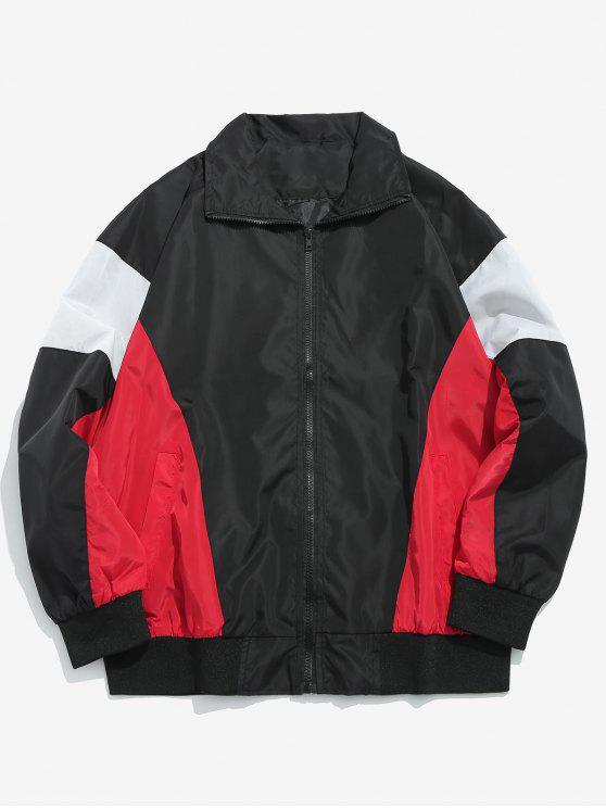 women Color Block Zip Front Pockets Jacket - BLACK 2XL