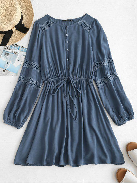 shop ZAFUL Lace Panel Mini Long Sleeve Dress - DARK SLATE BLUE XL
