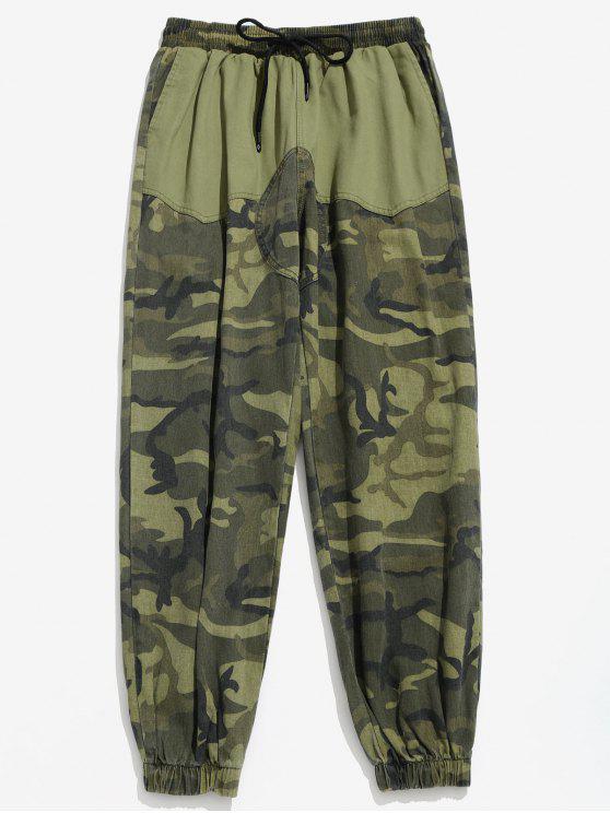 hot Camo Pockets Patchwork Jogger Pants - FERN GREEN 3XL