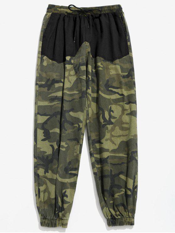 سروال Camo جيوب المرقعة عداء ببطء - أسود 2XL