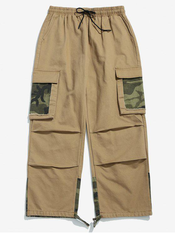 women's Camo Patchwork Drawstring Cargo Pants - KHAKI 4XL