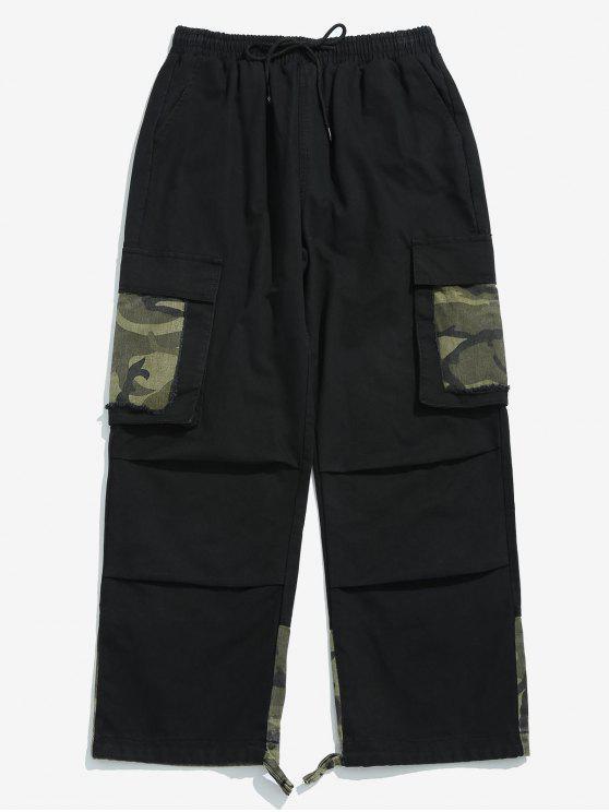 online Camo Patchwork Drawstring Cargo Pants - BLACK 3XL