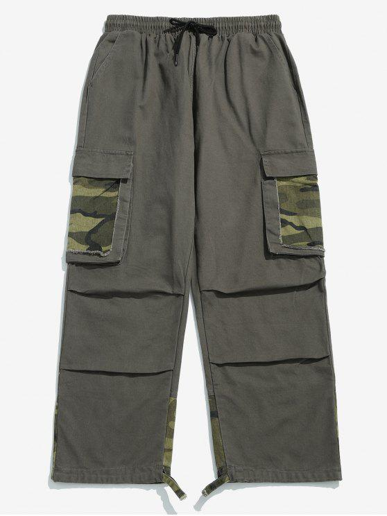 outfits Camo Patchwork Drawstring Cargo Pants - GRAY 2XL
