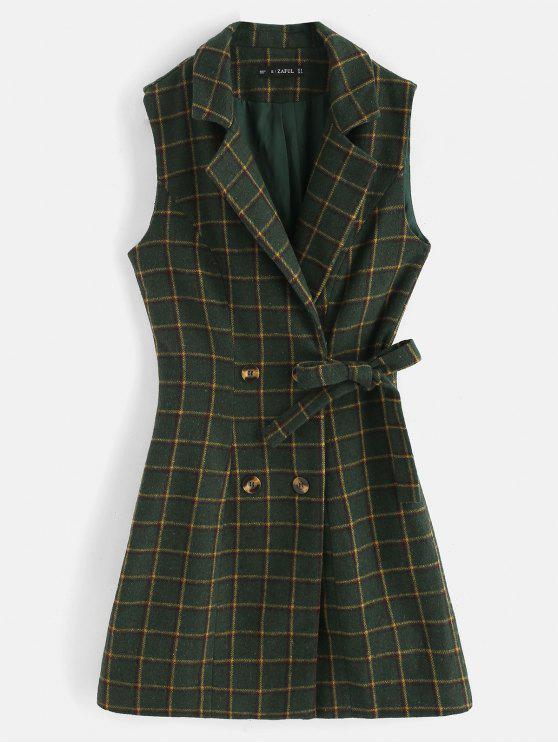 trendy ZAFUL Plaid Double Breasted Lapel Waistcoat - DARK FOREST GREEN S