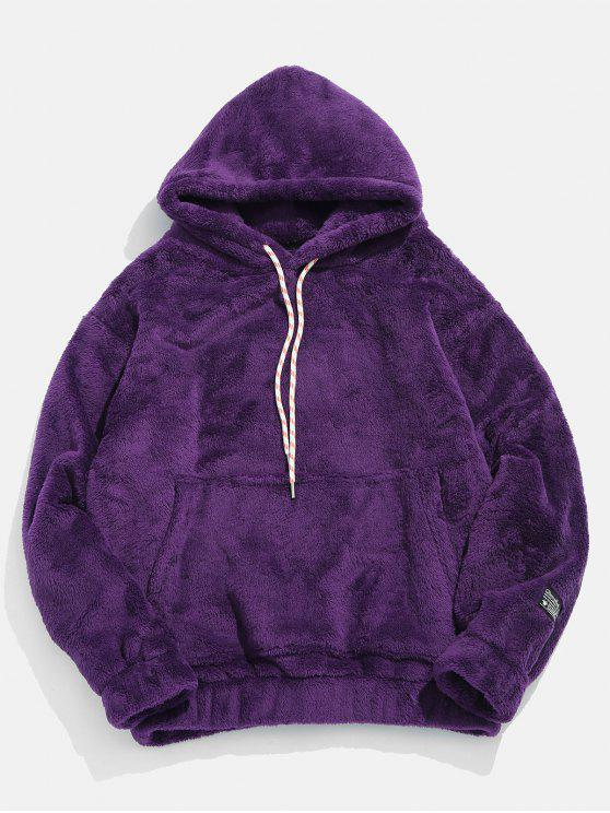 ladies Solid Pouch Pocket Fluffy Hoodie - PURPLE M