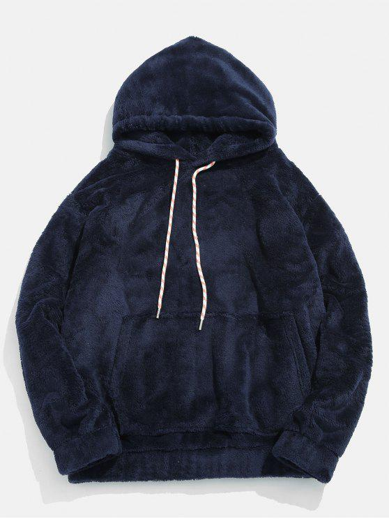 trendy Solid Pouch Pocket Fluffy Hoodie - MARBLE BLUE 2XL