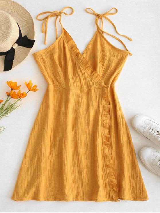 hot ZAFUL Ruffles Cami Surplice Dress - GOLDEN BROWN M