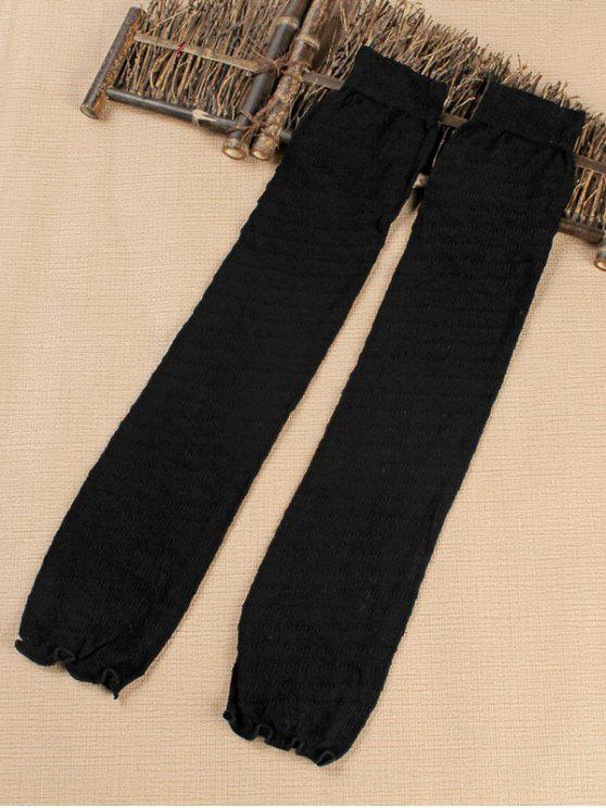 womens Solid Color Stripe Leg Warmers - BLACK