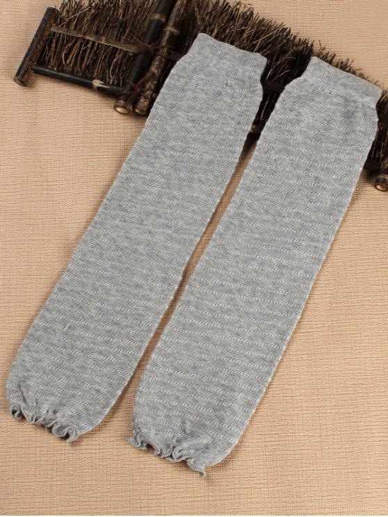 Solid Color Stripe Leg Warmers - سحابة رمادية