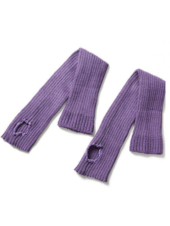 fancy Winter Striped Knitted Leg Warmers - PURPLE