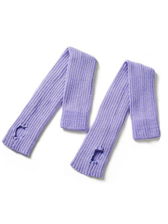 womens Winter Striped Knitted Leg Warmers - PURPLE MIMOSA