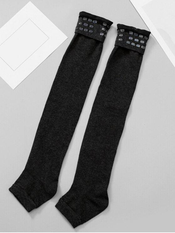 Solid Color Winter Leg Warmers - أسود