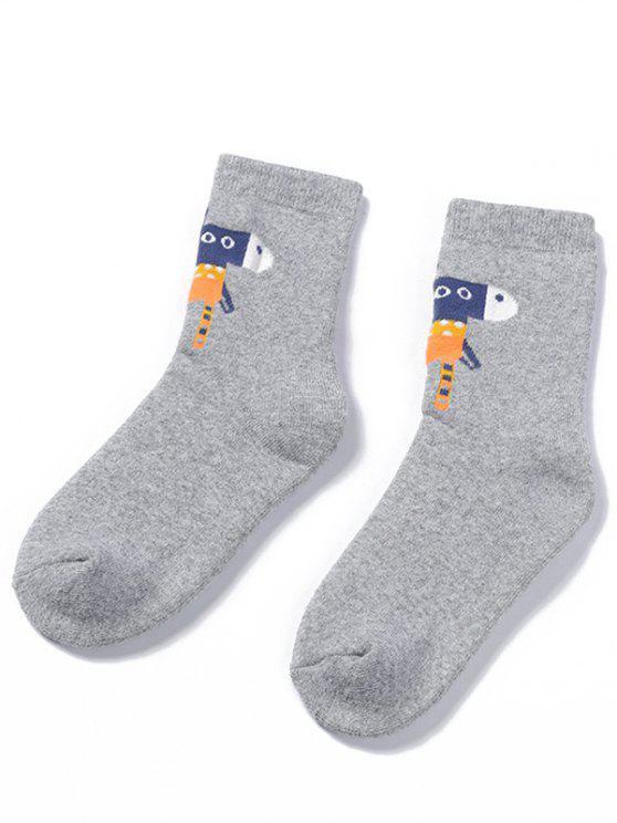 trendy Winter Cartoon Animal Ankle Socks - GRAY CLOUD